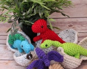 Baby Dinosaurs - Hatching Dino Eggs - Dinosaur Amigurumi Toy - Dino in Egg - Stegosaurus - Dinosaurs - T-Rex - Pterodactyl - Easter Gift