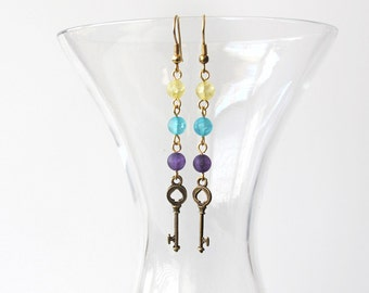 Blue, Yellow and Purple Key Dangle Earrings  Alice in Wonderland