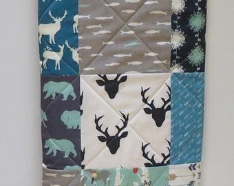 Modern Baby Quilt-Rustic Woodland Baby Boy Quilt-Organic Birch Fabric-Elk-Deer-Buck-Antlers-Bear-Feather River-Bear-Arrow-Blue-Gray-Black