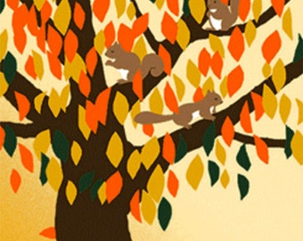 Japanese Tenugui Towel Cotton Fabric, Kawaii  Squirrel, Red Leaves, Animal, Fall, Modern Art Design, Wall Art Hanging, Table Runner, h483