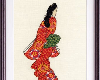 Japanese Embroidery Kit, Embroidery DIY Kit,  Hand Embroidery Tutorial, Traditional Ukiyoe Geisha Design, Maiko Kimono, Intermediate, EK041