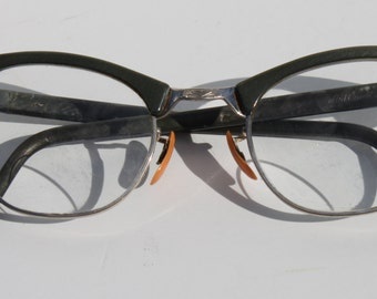 Vintage Art Craft Mid Century Military Green Womens Eyeglasses 10-12K GF 22""