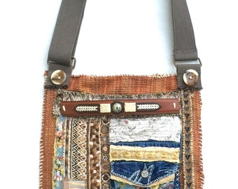Big Handmade Crossbody Bag in Earthy Brown Colors