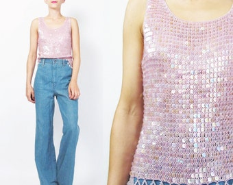 Pink Sequin Tank Top Beaded Tank Top Crochet Knit Tank Beaded Hem Vintage Sequin Shell Tank Light Pastel Baby Pink Sequin Party Top (XS/S)