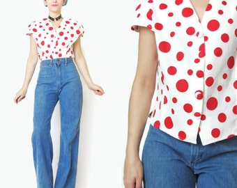 80s Polka Dot Blouse Red Polka Dot Top Button Up Blouse White Cotton Short Sleeve Shirt Cap Sleeve Blouse Vintage 1980s Crop Top (M/L)