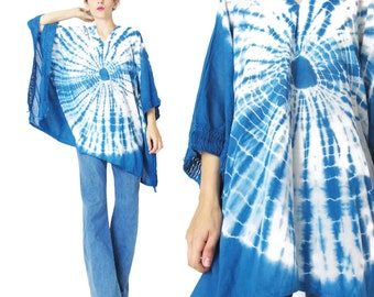 Vintage Tie Dye Caftan Top Oversize Slouchy Blouse Hippie Boho Tie Dye Blue Cotton Blouse Summer Shirt Plus Size Pullover Tunic Top (M/L/XL)