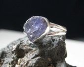FREE SHIPPING 3 carat raw Tanzanite Sterling Silver Ring  size 6.5
