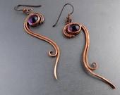 Copper Dangle Earrings-Copper Amethyst Earrings-Long Copper Earrings-Metalwork Earrings-Niobium Ear Wire- Boho Earrings for Women Spiral
