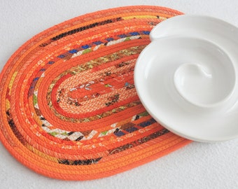 Fabric Coiled Mat / Placemat / Hot Pad / Trivet / Orange Bohemian Oval Coiled Mat by PrairieThreads
