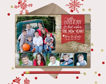 Love & Joy New Years Photo Card · family picture and five kids · rustic wood Christmas Card · printable cards