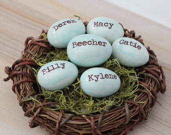 Bird nest, Personalized eggs, Mother's day gift, Bird eggs, Set of 6 eggs