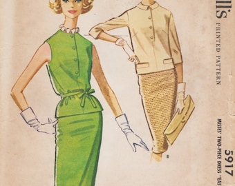 McCalls 5917 / Vintage 60s Sewing Pattern / Skirt Overblouse Jacket Suit / Size 14 Bust 34