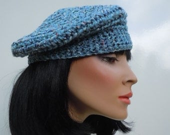 Beret, French Beret, Blue Hat, Light Blue Beanie, Crocheted Hat, Variegated Blue Cap