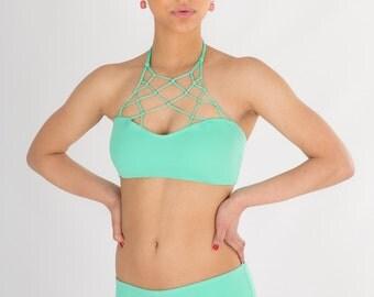 CLEARANCE SunRay Convertible Bikini Top in Mint TOP ONLY , Macrame, Net Tied