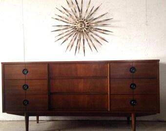 """Mid Century Modern Dresser Credenza by Stanley 1960's 64"""" atomic Danish Modern Walnut Dresser Credenza eames era"""