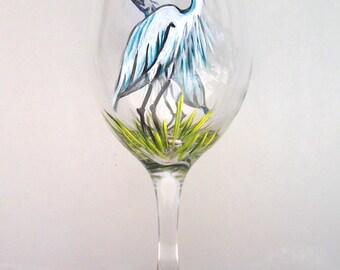White Heron Egret Wine Glass Hand Painted Wine Goblet (Custom Order)