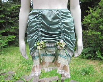 Sage Green and Champagne Trim Up-Cycled Slip Skirt Size Medium