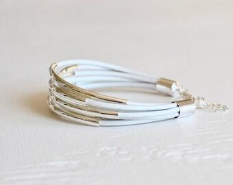 White Leather Cuff Bracelet with Silver Tube Beads - Minamalist Design Multi Strand Bangle Women's Bracelet ... by  B A L O O S