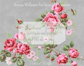 Antique Wallpaper elements Red Roses PNG Clip Art Transparent background Digital Download