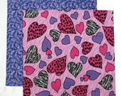 Valentines Day Napkin, Kids Cloth Napkin, Lunch Box Napkin, Fabric Valentine Napkin, Pink and Purple Hearts, 1 double sided napkin