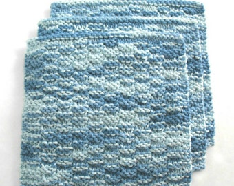 Knit Washcloths, Cotton Knitted Washcloths, Face Cloths, Blue Bath Gift, set of 3
