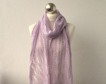 Lilac hand knitted cotton scarf SUMMER SALE 15%OFF