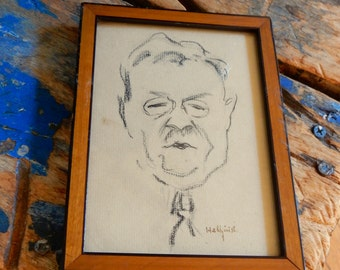 Old Original Portrait Sketch Drawing Caricature Signed Hellquist Pencil Graphite Matted & Framed E. Dinesen Denmark Provenance Collectible