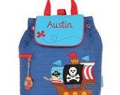 Monogram Personalized Stephen Joseph PIRATE Toddler Kids Preschool Backpack Tote Easy Ordering