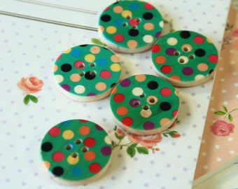 Set 4 GREEN Craft Ideas Dotty Printed Wood round buttons