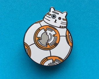 BB8 Pin - Star Wars Enamel Badge - Lapel Pin - Cat brooch - Fat Kitty - White Cat Brooch - Cat Pin - Cat Droid pin - Hard Enamel Cat Brooch
