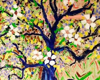 Flowering Tree - original giant painting - by Katie Jurkiewicz