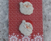 Santa Claus Head Buttons by La Mode Plastic Red and White Figural, Christmas Crafts