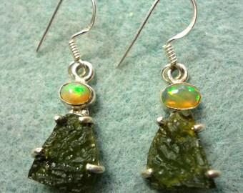 Opal Earrings Opals and Moldavite with Fire Opals and Green Czech Moldavite Meteorite Gemstones in Sterling Silver Earrings
