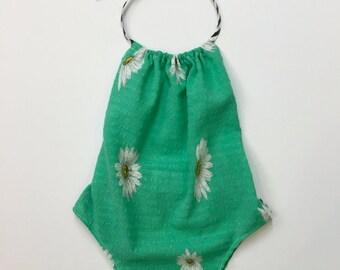 Baby Girl Green Daisy & Stripe Romper Playsuit Sun Suit