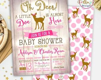 Oh Deer Baby Shower, Printable Invite, Deer Baby Shower Invite, Baby Girl Invite, Woodland Baby Shower, Little Doe on the Way, Little Deer