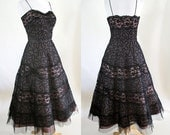 ON HOLD  Clearance Wickedly beautiful 1950s' Black Lace and tulle cocktail dress Hollywood Chic pinup girl rockabilly VlV Size Small/med