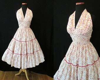 "Adorable 1950's Summer Halter Top Novelty Print Cocktail Party Dress by ""Patio n' Party"" Rockabilly VLV Pinup Girl Vixen Size-Small"