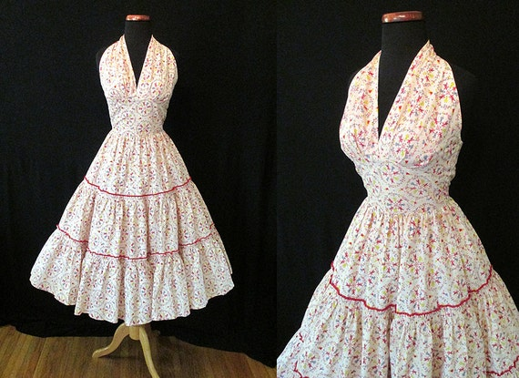 """Adorable 1950's Summer Halter Top Novelty Print Cocktail Party Dress by """"Patio n' Party"""" Rockabilly VLV Pinup Girl Vixen Size-Small"""