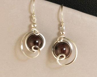 Red Garnet Gemstone Sterling Silver Drop Earrings, Unique Wire Wrapped Dark Red Garnet Earrings, Argentium Silver Earrings