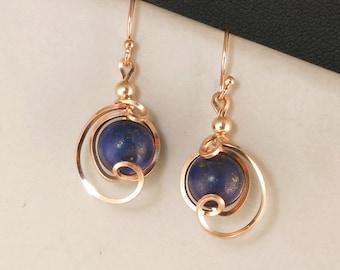 Lapis Gemstone Rose Gold Drop Earrings, Lapis Lazuli Asymmetrical Rose Gold Wire Dangle Earrings