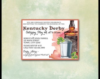 Kentucky Derby Invitations / DIY Printable / Horse Racing Betting Slips / Mint Julep / Bourbon Whiskey / Belmont Stakes, Preakness