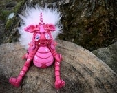 Polymer Clay Dragon 'Lolita' - Limited Edition Jointed Collectible with Fluff
