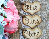 Set of 3 Engraved Small Wood Hearts Rustic Charms DIY Sand Ceremony Mason Jars Not Included His Hers Ours Hearts Mr. Mrs. One Love Hearts