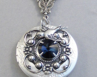 Sparrow's Sapphire,Locket,Antique Locket,Silver Locket,SapphireGoddess,Sapphire Necklace,Sapphire Locket,Moonstone Cab.Valleygirldesigns.
