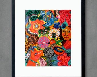 Tahiti - 8x10 Art Print - Folk flowers, art painting flowers, bohemian, folk, funky, naive, primitive.