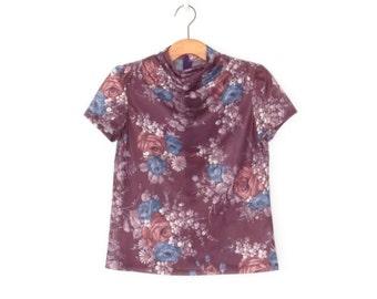 Vintage 70s Blouse * Cowl Neck Shirt * 1970s Feather Print Top * Medium