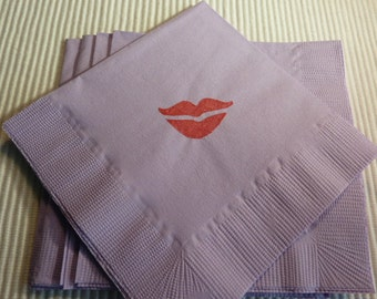 Red Lip Paper Napkins - Cocktail/Luncheon/Dinner - Ladies Night - Bachlorette Party - Pack of 24