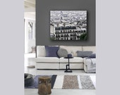 Paris Canvas, Gray Wall Art, Paris, Rooftops, Purple, Beige, Neutral, Paris Roofs Canvas, Large Canvas Art