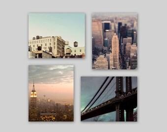 Sale - New York City Print Set- Neutral Blue Beige Pink Mauve- New York Wall Art- Architecture Set of 4 Prints