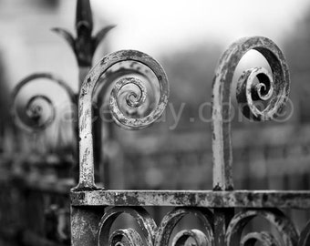 Black and White Paris Photography, Rustic, Iron Fence, Office Decor, Architecture, Paris Print, Gray Wall Art